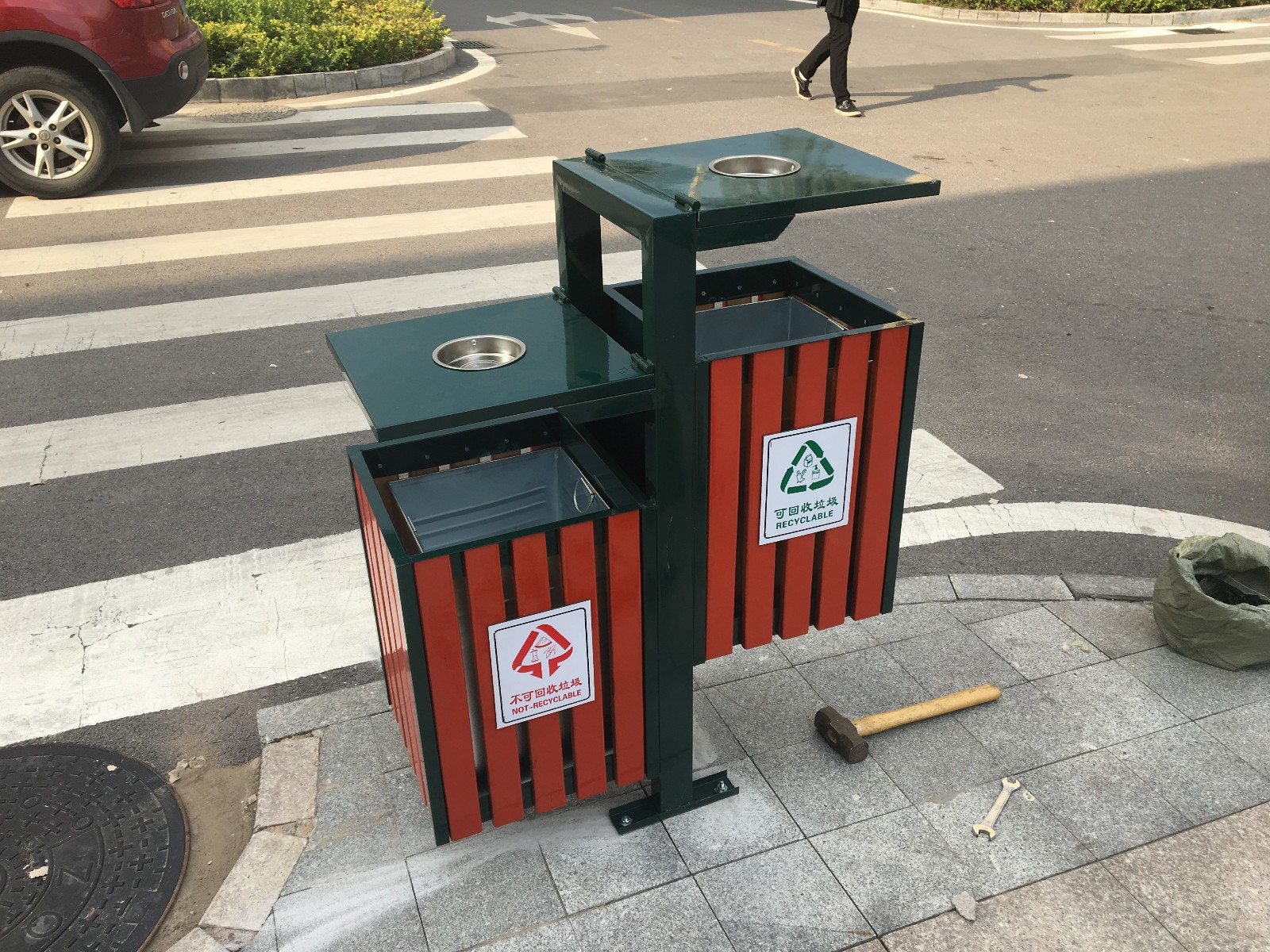 hu外分类钢木垃圾桶YTD07