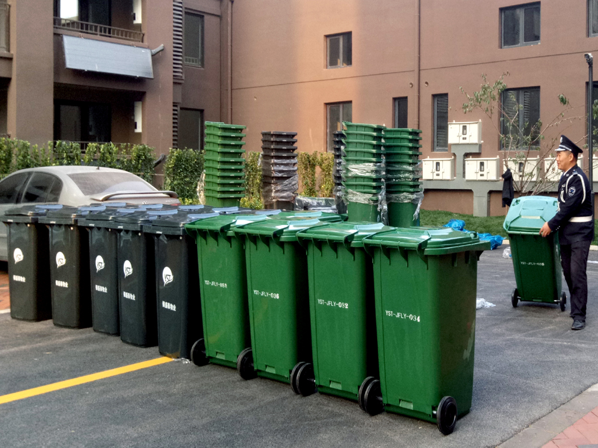 订制银盛泰物业240L塑料垃圾桶