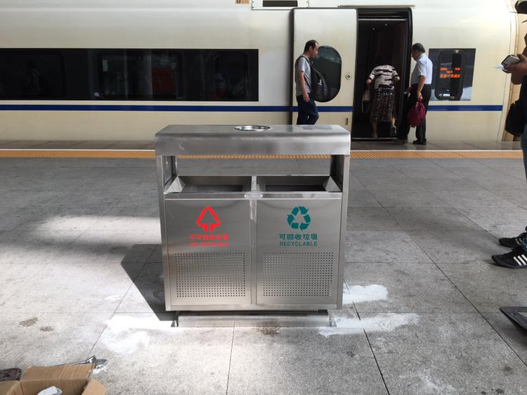 青岛北站采购ag捕鱼wang网址不锈钢垃圾桶